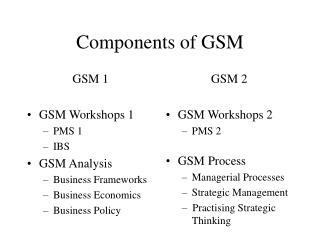 Components of GSM