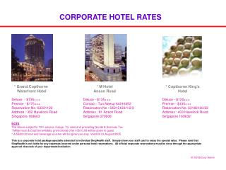 CORPORATE HOTEL RATES