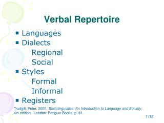 Verbal Repertoire