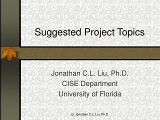 Suggested Project Topics