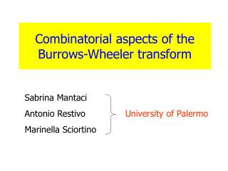 Combinatorial aspects of the  Burrows-Wheeler transform