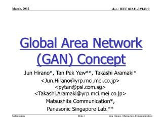 Global Area Network (GAN) Concept
