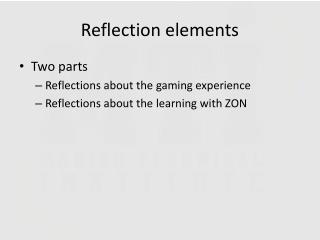 Reflection elements