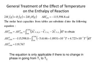 General Treatment of the Effect of Temperature on the Enthalpy of Reaction