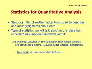 Statistics for Quantitative Analysis