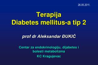 Terapija  Diabetes mellitus-a tip 2