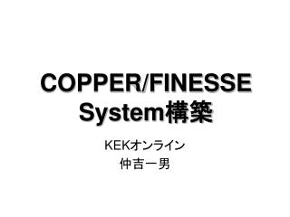 COPPER/FINESSE  System 構築