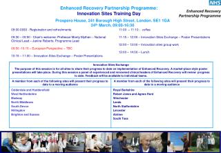 Enhanced Recovery Partnership Programme:  Innovation Sites Training Day