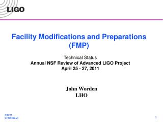 Facility Modifications and Preparations (FMP)