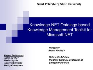 Knowledge.NET Ontology-based Knowledge Management Toolkit for Microsoft.NET