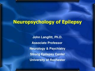 Neuropsychology of Epilepsy