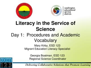 Literacy in the Service of Science Day 1:  Procedures and Academic Vocabulary