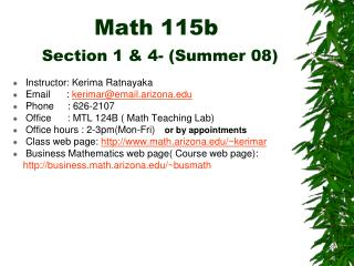 Math 115b Section 1 & 4- (Summer 08)