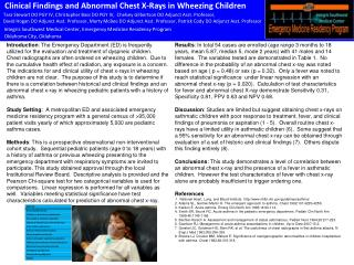 Clinical Findings and Abnormal Chest X-Rays in Wheezing Children