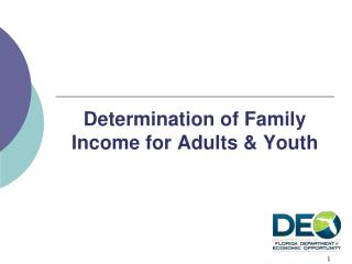 Determination of Family Income for Adults & Youth