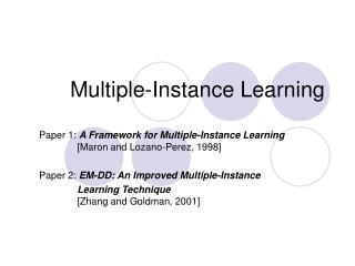 Multiple-Instance Learning