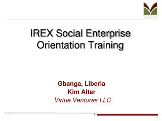 IREX Social Enterprise Orientation Training