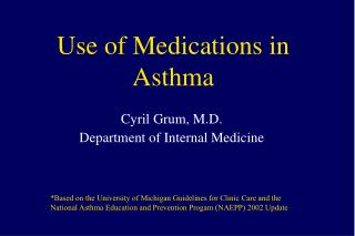 Use of Medications in Asthma