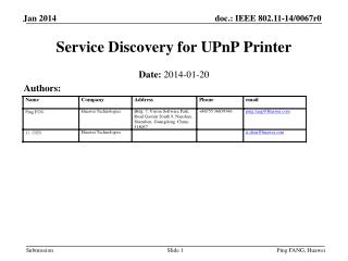 Service Discovery for UPnP Printer