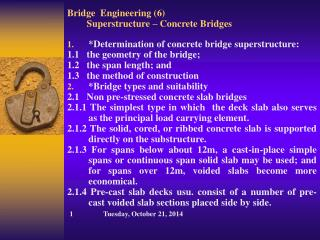 Bridge  Engineering (6)          Superstructure – Concrete Bridges