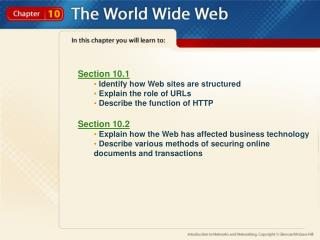 Section 10.1  Identify how Web sites are structured  Explain the role of URLs