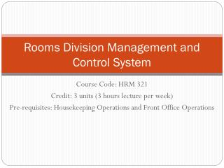 Rooms Division Management and Control System