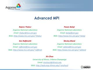 Advanced MPI