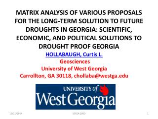 HOLLABAUGH, Curtis L . Geosciences University  of West  Georgia