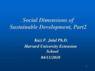 Social Dimensions of Sustainable Development, Part2