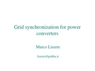 Grid synchronization for power converters