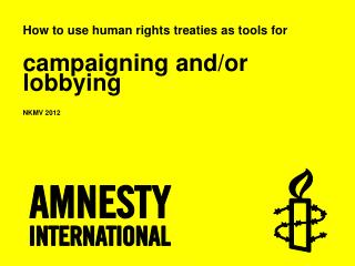 How  to  use human rights treaties  as  tools  for campaigning and/or lobbying NKMV 2012