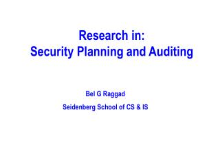Research in: Security Planning and Auditing