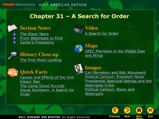 Chapter 31 – A Search for Order