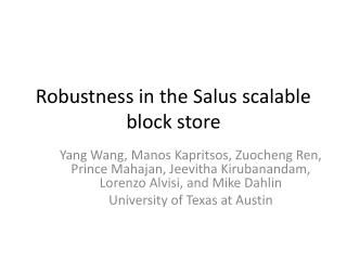 Robustness in the Salus scalable block store