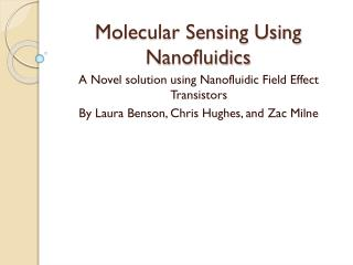 Molecular Sensing Using Nanofluidics