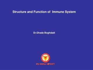 Structure and Function of  Immune System Dr.Ghada Boghdadi