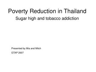 Poverty Reduction in Thailand