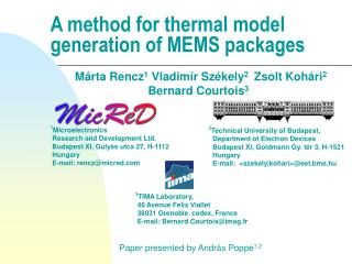 A method for thermal model generation of MEMS packages