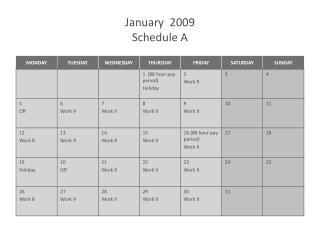 January  2009 Schedule A