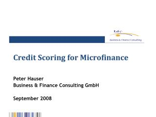 Credit Scoring for Microfinance