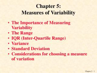 Chapter 5: Measures of Variability