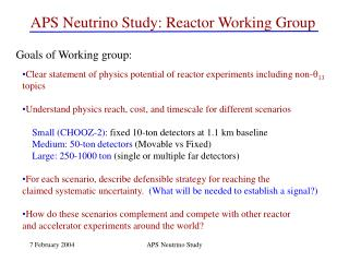 APS Neutrino Study: Reactor Working Group