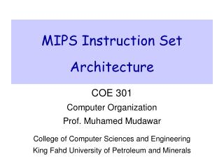 MIPS Instruction Set Architecture