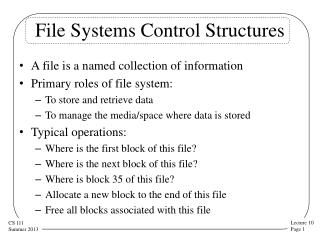 File Systems Control Structures