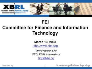 FEI Committee for Finance and Information Technology March 13, 2008  xbrl