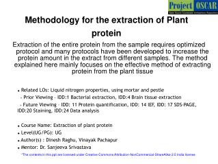 Methodology for the extraction of Plant protein