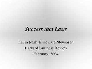 Success that Lasts