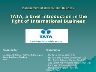 Management of International Business