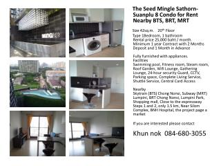 The  Seed Mingle  Sathorn-Suanplu  8 Condo for Rent Nearby BTS, BRT, MRT