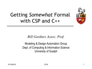 Getting  Somewhat  Formal with CSP and C++